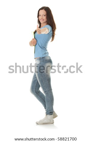 Isolated full length portrait of a beautiful young woman student. - stock photo