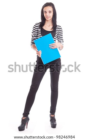 Isolated full length portrait of a beautiful young woman student - stock photo