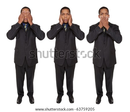 Isolated full length studio shot of a businessman in the See No Evil, Hear No Evil, Speak No Evil poses. - stock photo