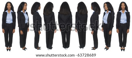 Isolated full length studio shot of the front view of a female African American businesswoman as she looks at the camera (part of a rotational series).