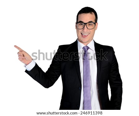 Isolated funny business man pointing side - stock photo