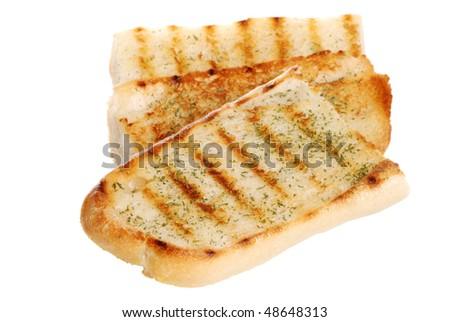 isolated garlic bread - stock photo