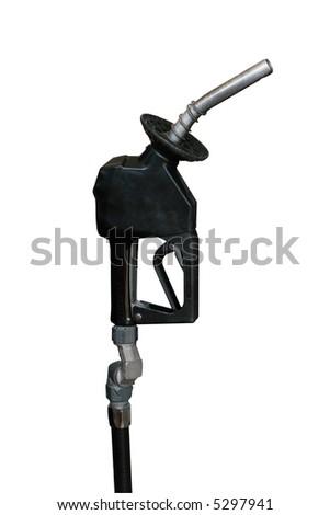 isolated gasoline nozzle - stock photo