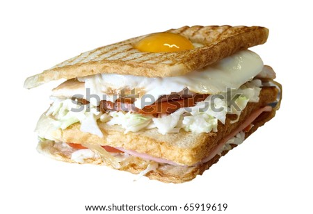 isolated Giant sandwich with chicken bacon and egg