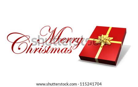 isolated gift box on white - stock photo