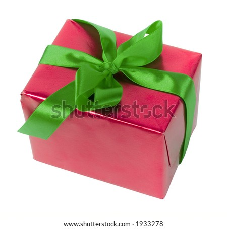 isolated gift - red paper and green ribbon