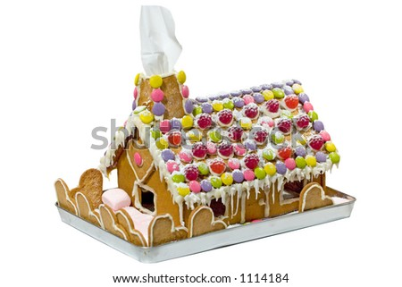 Isolated gingerbread house - stock photo