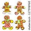 Isolated gingerbread, man on white background - stock photo