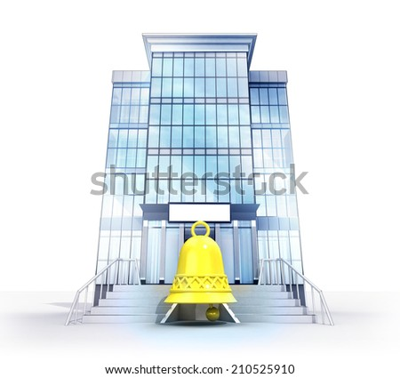 isolated glass building with bell alarm symbol concept  illustration - stock photo