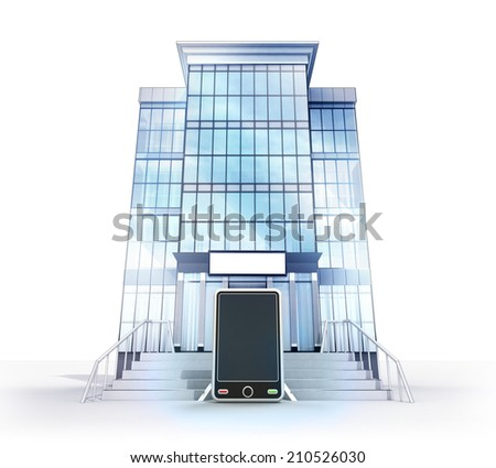 isolated glass building with communication concept  illustration - stock photo