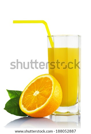 Isolated glass of orange juice with a slice and a straw on white background