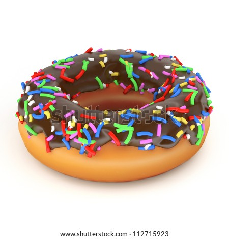 isolated glazed donut or doughnut with chocolate coating, 3d rendering.