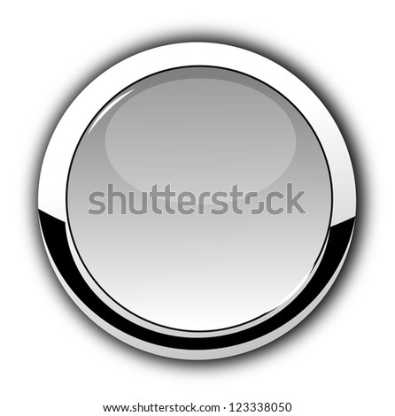 Isolated glossy, chrome button on white background. - stock photo