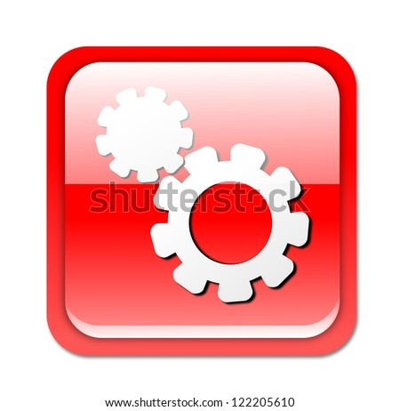 Isolated, glossy, red settings button on white background. - stock photo
