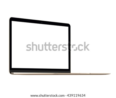 Isolated gold Apple The New MacBook notebook computer mockup on white background