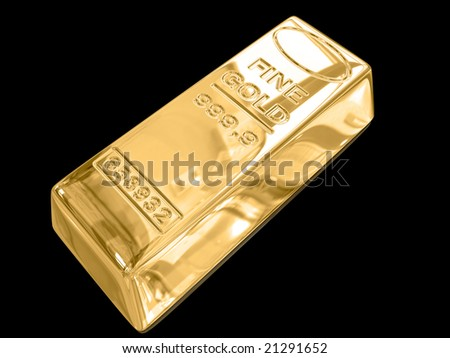 Isolated gold bar on black background.