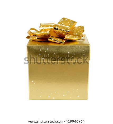 isolated gold-colored gift box on white background - stock photo
