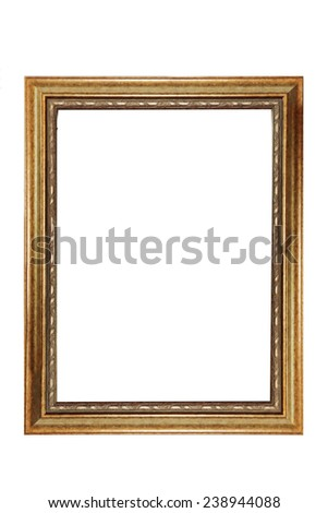 isolated gold vintage photo frame in white background