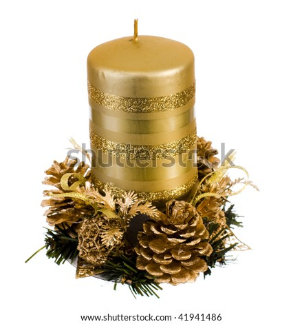 isolated golden candle - stock photo