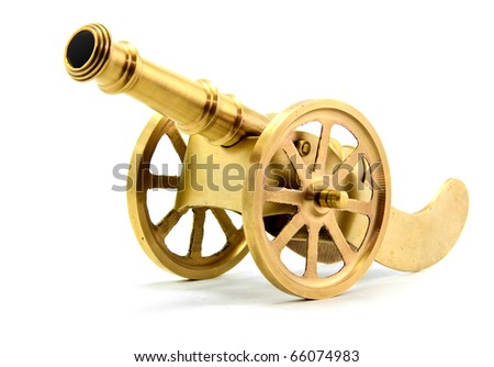 isolated golden cannon on white - stock photo