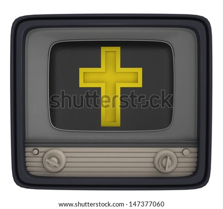 isolated golden cross in retro television illustration - stock photo