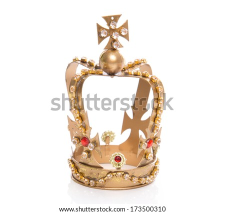 Isolated golden crown on a white background - stock photo
