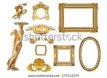 Isolated golden  detail to Versailles castle. France. - stock photo