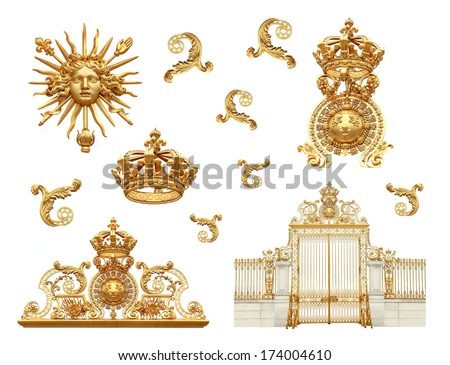 Isolated golden gates to Versailles castle. France. - stock photo