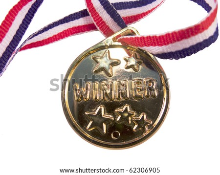 Isolated  golden medal with ribbon - stock photo