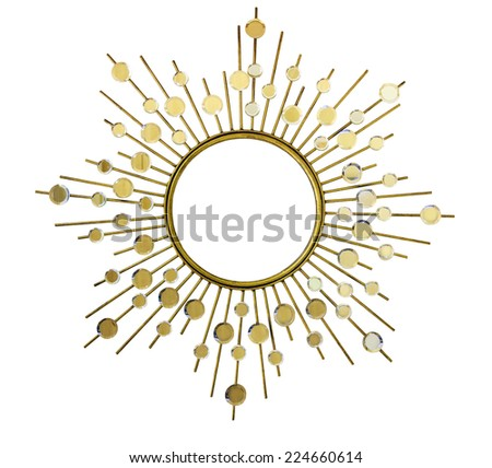 Isolated Golden Modern Style Mirror Frame On White Background - stock photo