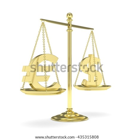 Isolated golden scales with dollar and euro currency. American and european finance. Measuring of market stability. 3D rendering. - stock photo