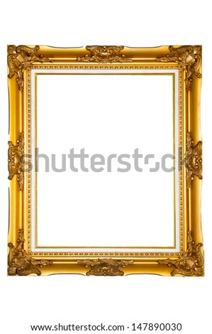 Isolated golden wood photo frame  - stock photo