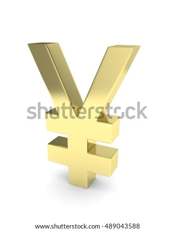 Isolated golden yen yuan sign on white background. Chinese japanese currency. Concept of investment, asian market, savings. Power, luxury and wealth. 3D rendering.