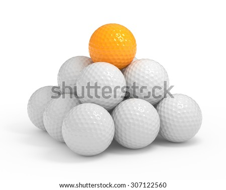 Isolated golf ball pyramide with clipping path - stock photo