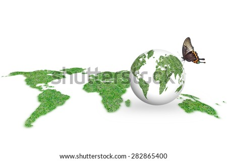 Isolated grass land world map and green grass on eco clean planet with butterfly on white background: World environment day concept: Corporate social responsibility CSR conceptual idea/ campaign  - stock photo