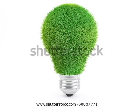 Isolated Grass Lightbulb isolated on white background, ecology concept - stock photo