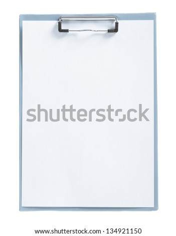isolated gray paperclip with sheet - stock photo