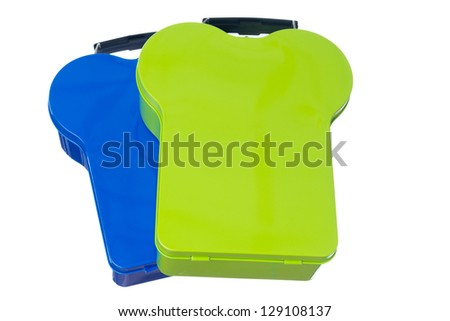 Isolated Green and Blue Lunchboxes