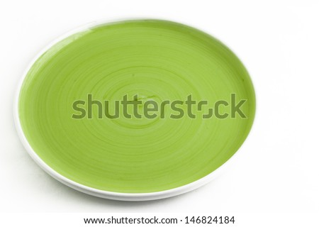 isolated green dish on white background - stock photo