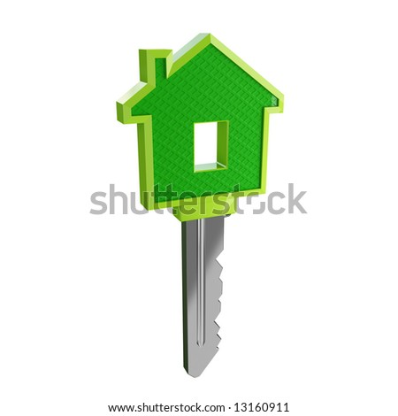 isolated green eco house key03 - stock photo