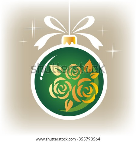 Isolated green floral ornate Christmas ball on a gray background. - stock photo