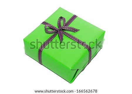 isolated green gift box in white background - stock photo