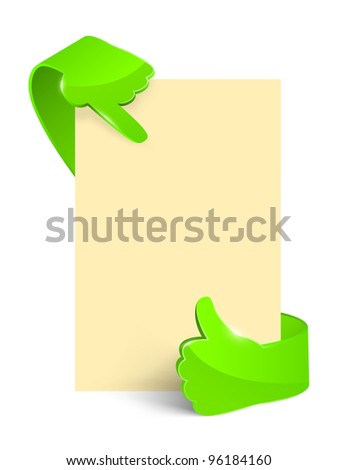 Isolated green glass hand with empty paper. - stock photo