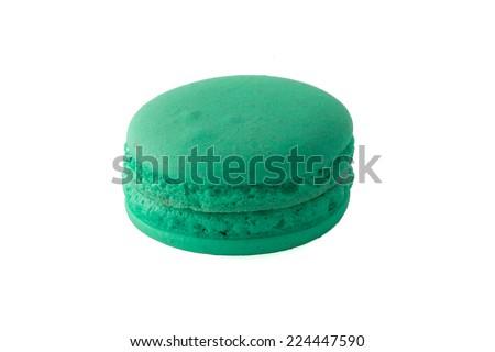 Isolated Green Macaron - stock photo