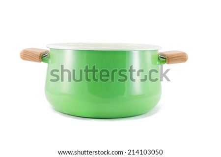 Isolated green pastel pot without the lid - stock photo