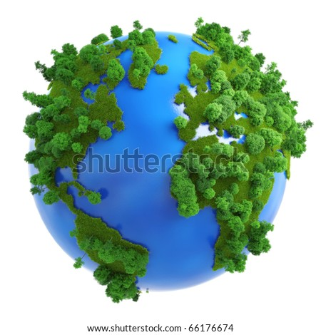 Isolated green planet concept with green grass and trees on the continents and blue on the oceans. - stock photo