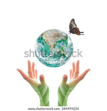 Isolated green planet with butterfly drinking water on the globe over human hands with leaf pattern texture on white background : World environment concept: Elements of this image furnished by NASA  - stock photo