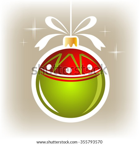 Isolated green-red Christmas ball on a gray background. - stock photo