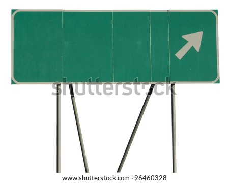 Isolated green road sign on a white background - stock photo