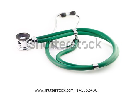 Isolated green stethoscope on a white background